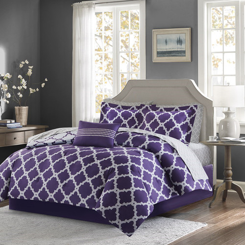 Purple & Grey Reversible Fretwork Comforter Set AND Matching Sheet Set (Merritt-PurpleGrey)