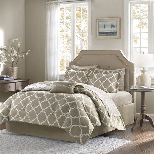 Taupe & White Reversible Fretwork Comforter Set AND Matching Sheet Set (Merritt-Taupe)