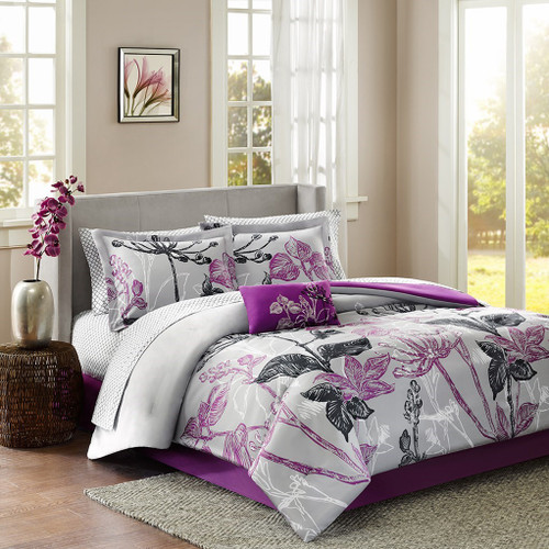 Purple Black & Grey Reversible Floral Comforter Set AND Matching Sheet Set (Claremont-Purple)