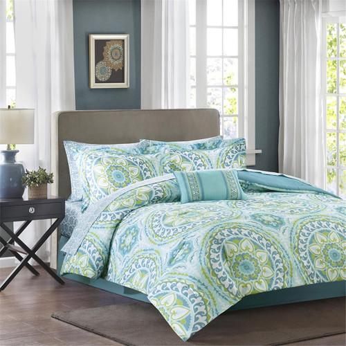 Teal Blue & Green Oversize Medallions Comforter Set AND Matching Sheet Set (Serenity-Aqua)