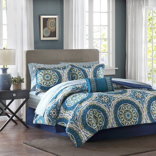 Blue & Green Oversize Medallions Comforter Set AND Matching Sheet Set (Serenity-Blue)