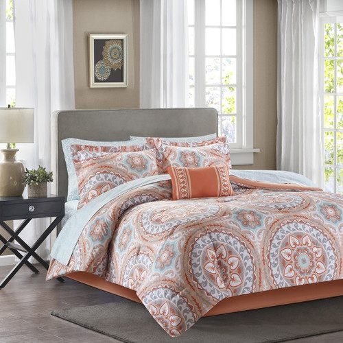 Coral & Aqua Oversize Medallions Comforter Set AND Matching Sheet Set (Serenity-Coral)