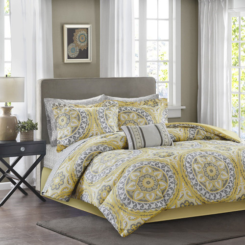Yellow & Grey Oversize Medallions Comforter Set AND Matching Sheet Set (Serenity-Yellow)