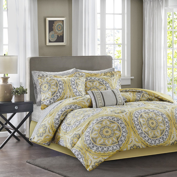 Yellow Amp Grey Oversize Medallions Comforter Set And