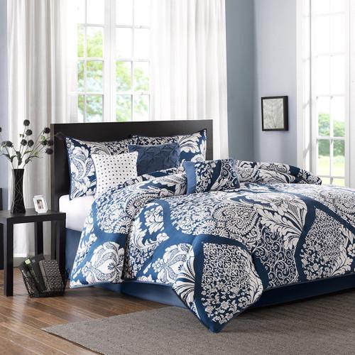 Indigo Blue & White Ogee Design Comforter Set AND Decorative Pillows (Vienna-Indigo)