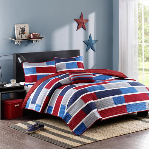 Navy Blue & Red Colorblock Coverlet Quilt Set AND Decorative Pillow (Bradley-Blue)