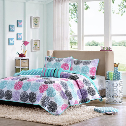 Pink & Teal Polka Dots Reversible Coverlet Quilt Set AND Decorative Pillow (Carly-Purple)