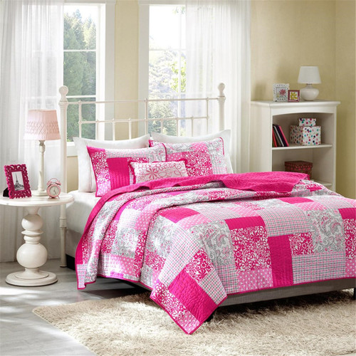 Pink Plaid & Floral Reversible Coverlet Quilt Set AND Decorative Pillow (Abbey-Pink)