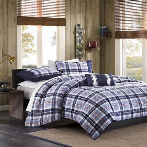Blue & White Plaid Coverlet Quilt Set AND Decorative Pillow (Elliot-Blue)