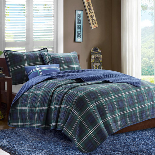 Blue & Green Plaid Reversible Coverlet Quilt Set AND Decorative Pillow (Brody-Blue)