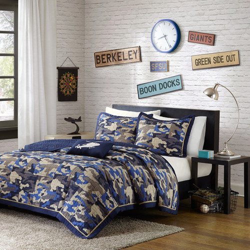Blue & Taupe Camo Reversible Coverlet Quilt Set AND Decorative Pillow (Josh-Blue)