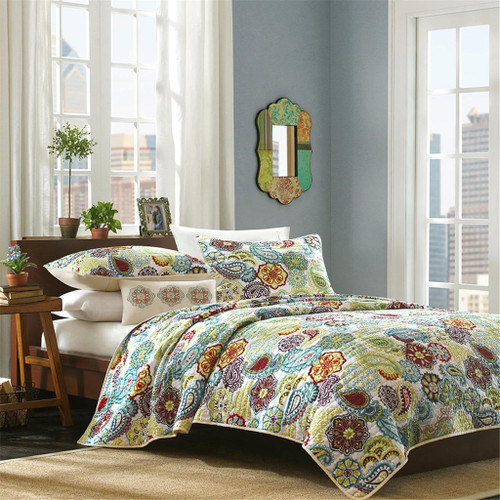 Paisley Medallions & Floral Coverlet Quilt Set AND Decorative Pillow (Tamil-Multi)