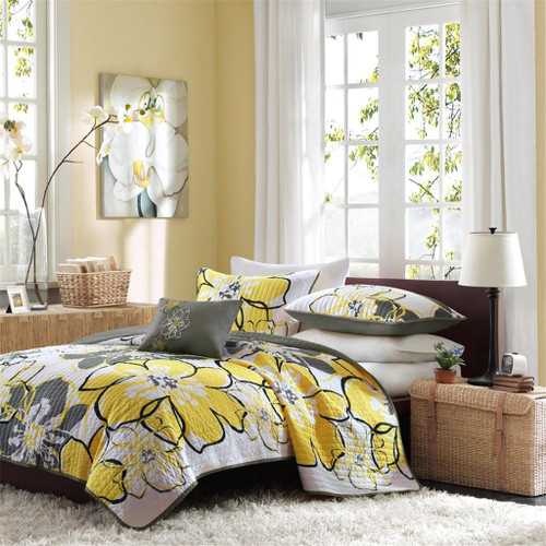 Yellow & Grey Reversible Coverlet Quilt Set AND Decorative Pillow (Allison-Yellow)