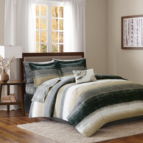 Black Taupe & White Stripes Comforter Set AND Matching Sheet Set (Saben-Taupe)