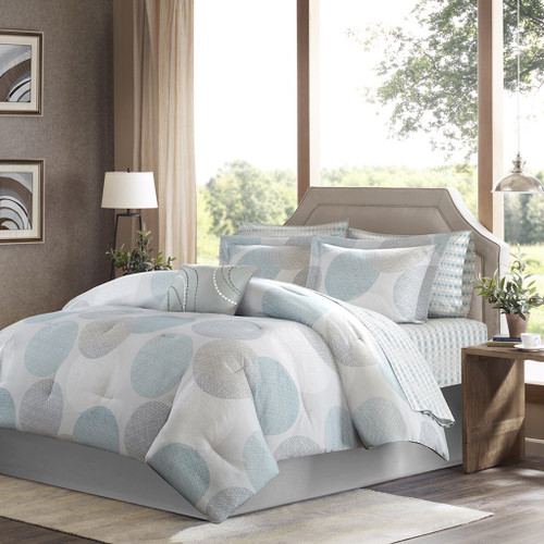 Aqua & Grey Circular Design Comforter Set AND Matching Sheet Set (Knowles-Aqua)