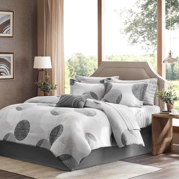 Grey & White Circular Design Comforter Set AND Matching Sheet Set (Knowles-Grey)
