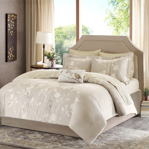 Taupe & Yellow Floral Comforter Set AND Matching Sheet Set ( Vaughn-Taupe)