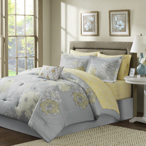Soft Grey & Yellow Floral Comforter Set AND Matching Sheet Set (Avalon-Grey)
