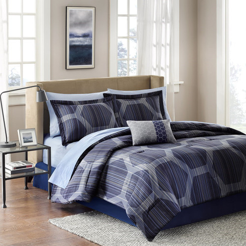Dark Blue & Navy Hexagon Comforter Set AND Matching Sheet Set (Rincon-Blue)