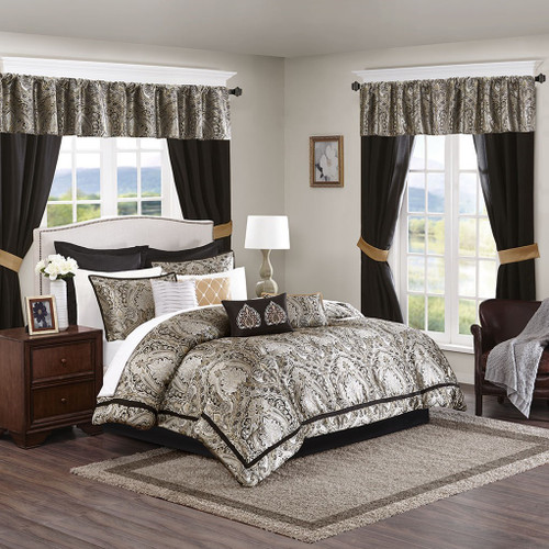 24pc Black & Gold Comforter Set, Sheets, Pillows, Curtains AND More (Michelle-Black)