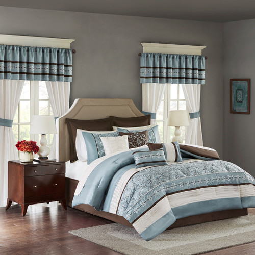 24pc Blue & Brown Embroidered Comforter Set, Sheets, Pillows, Curtains AND More (Jelena-Blue)