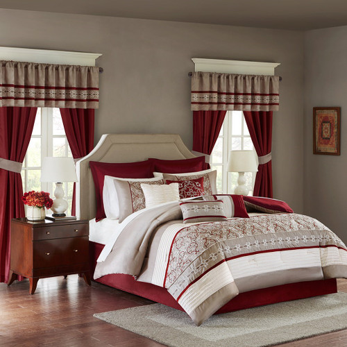 24pc Burgundy & Taupe Embroidered Comforter Set, Sheets, Pillows, Curtains AND More (Jelena-Red)