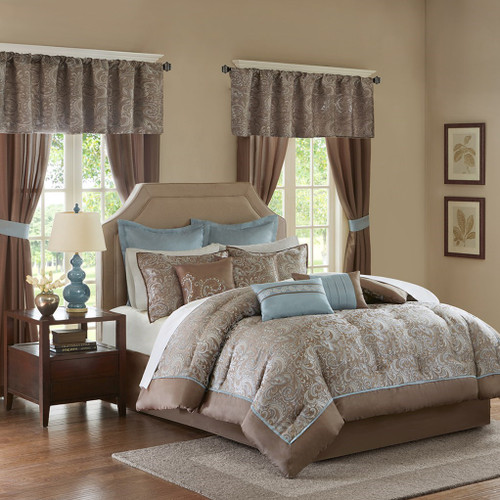24pc Blue & Brown Paisley Comforter Set, Sheets, Pillows, Curtains AND More (Brystol-Blue)