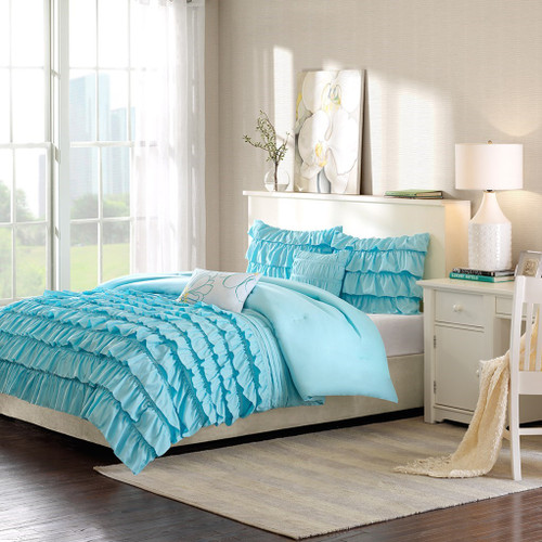 Teal Blue Reversible Flowing Ruffles Comforter Set AND Decorative Pillows (Waterfall-Blue)