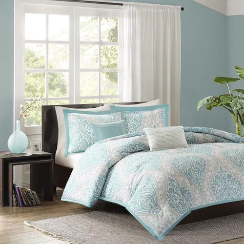 Aqua & Grey Damask Print Comforter Set AND Decorative Pillows (Senna-Aqua)