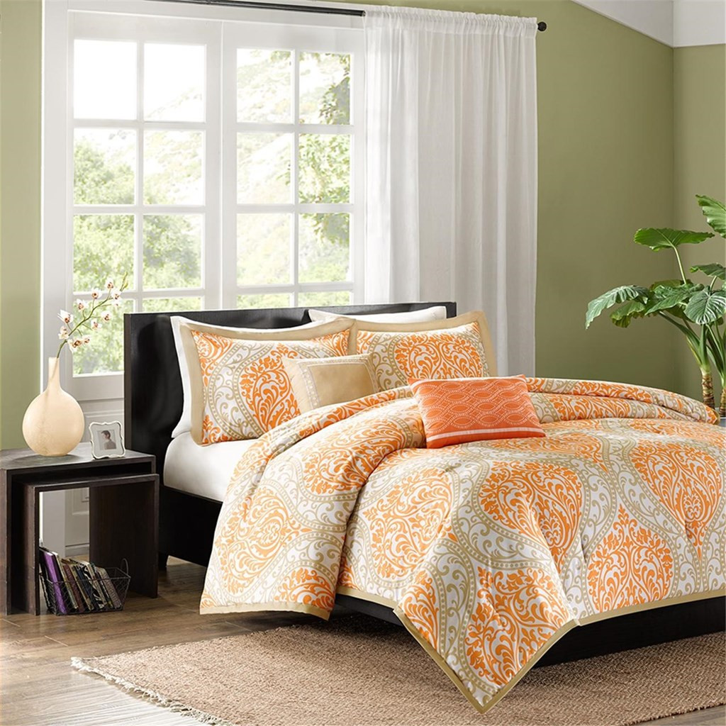 Orange & Taupe Damask Print Comforter Set AND Decorative Pillows (Senna-Orange)