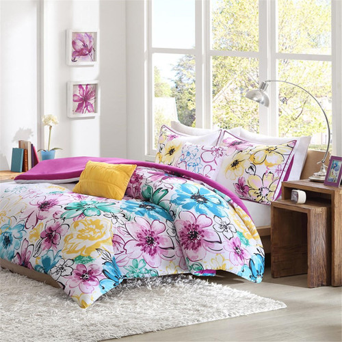 Bright Teal & Purple Floral Comforter Set AND Decorative Pillows (Olivia-Blue)