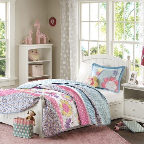 Pink & Blue Floral Coverlet Quilt Set AND Decorative Flower Pillow (Crazy Daisy-Multi)