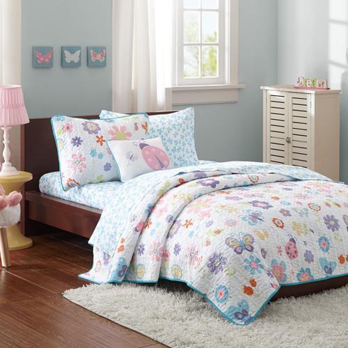Flowers & Butterflies Coverlet Quilt Set, Sheet Set AND Decorative Pillow (Fluttering Farrah -Multi)
