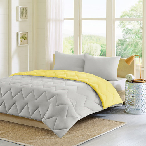 Grey & Yellow Reversible Comforter AND Matching Pillow Shams (Trixie-Grey)