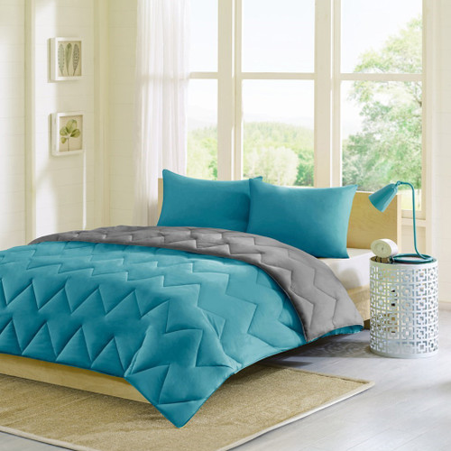 Teal Blue & Grey Reversible Comforter AND Matching Pillow Shams (Trixie-Teal)