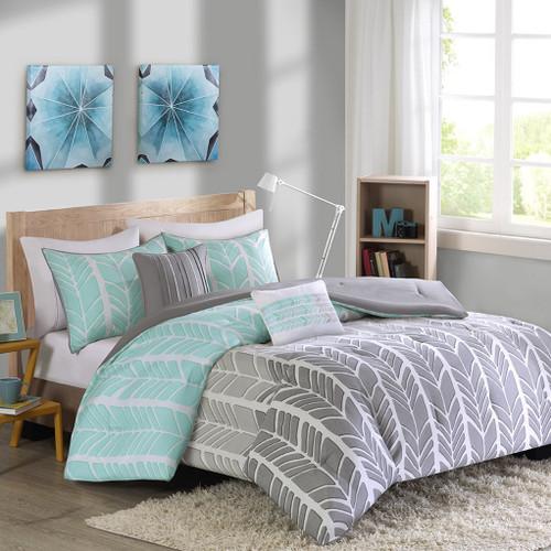 Aqua Blue Grey & White Geometric Chevron Comforter Set AND Decorative Pillows (Adel-Aqua)
