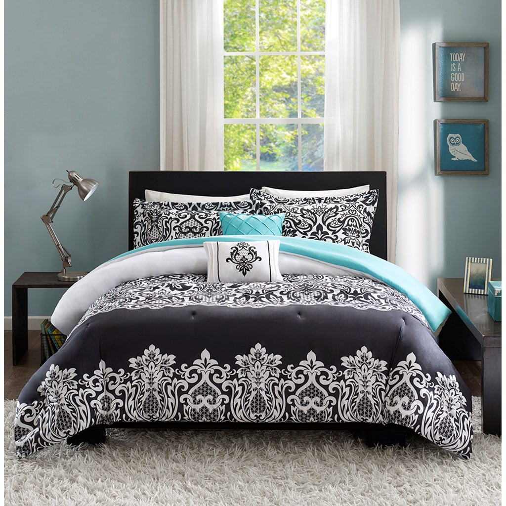Bold Black White & Teal Damask Comforter Set AND Decorative Pillows (Leona-Black)
