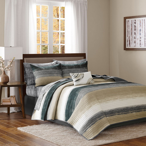 Taupe Grey & Black Coverlet Quilt Set AND Matching Sheet Set (Saben-Taupe-Cov)