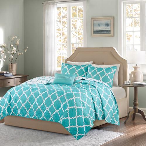 Aqua & White Reversible Fretwork Comforter Set AND Decorative Pillow (Merritt-Aqua-Cov)