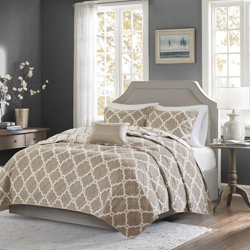 Taupe & White Reversible Fretwork Comforter Set AND Decorative Pillow (Merritt-Taupe-Cov)