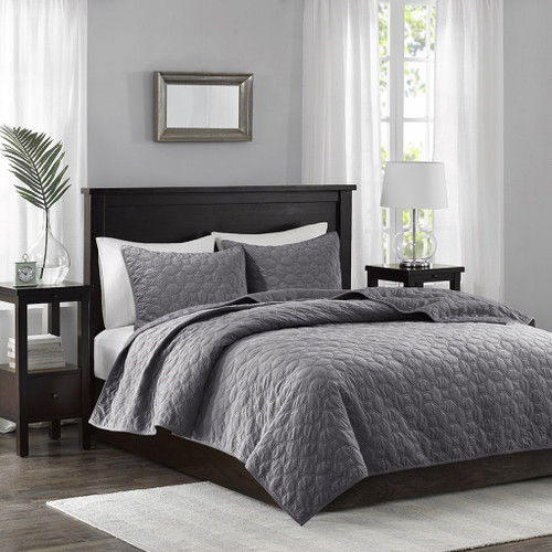 3pc Grey Velvety Soft Geometric Stitch Coverlet Quilt AND Decorative Shams (Harper)