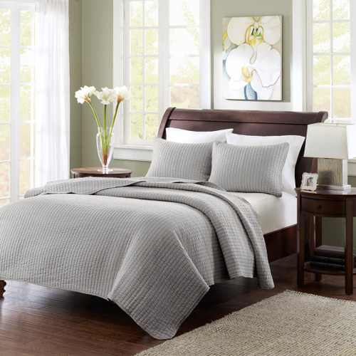 Solid Grey Coverlet Quilt AND Decorative Pillow Shams (Keaton-Grey-cov)