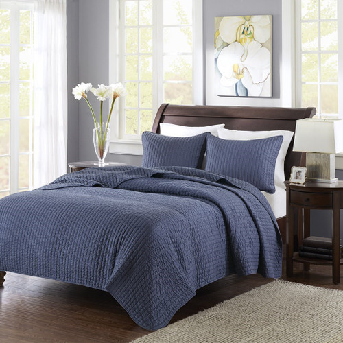 Solid Navy Blue Coverlet Quilt AND Decorative Pillow Shams (Keaton-Navy-cov)