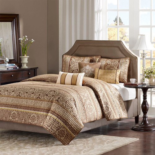 6pc Brown & Gold Jacquard Coverlet Quilt Set AND Decorative Pillows (Bellagio-Brown-cov)