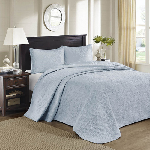3pc Solid Soft Blue Quilted Bedspread Set AND Decorative Pillow Shams (Quebec-Blue-cov)