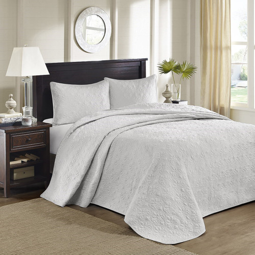 3pc Solid Soft Grey Quilted Bedspread Set AND Decorative Pillow Shams (Quebec-Grey-cov)
