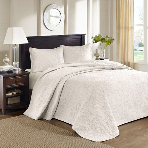 Solid Ivory Quilted Bedspread Set AND Decorative Pillow Shams (Quebec-Ivory-cov)