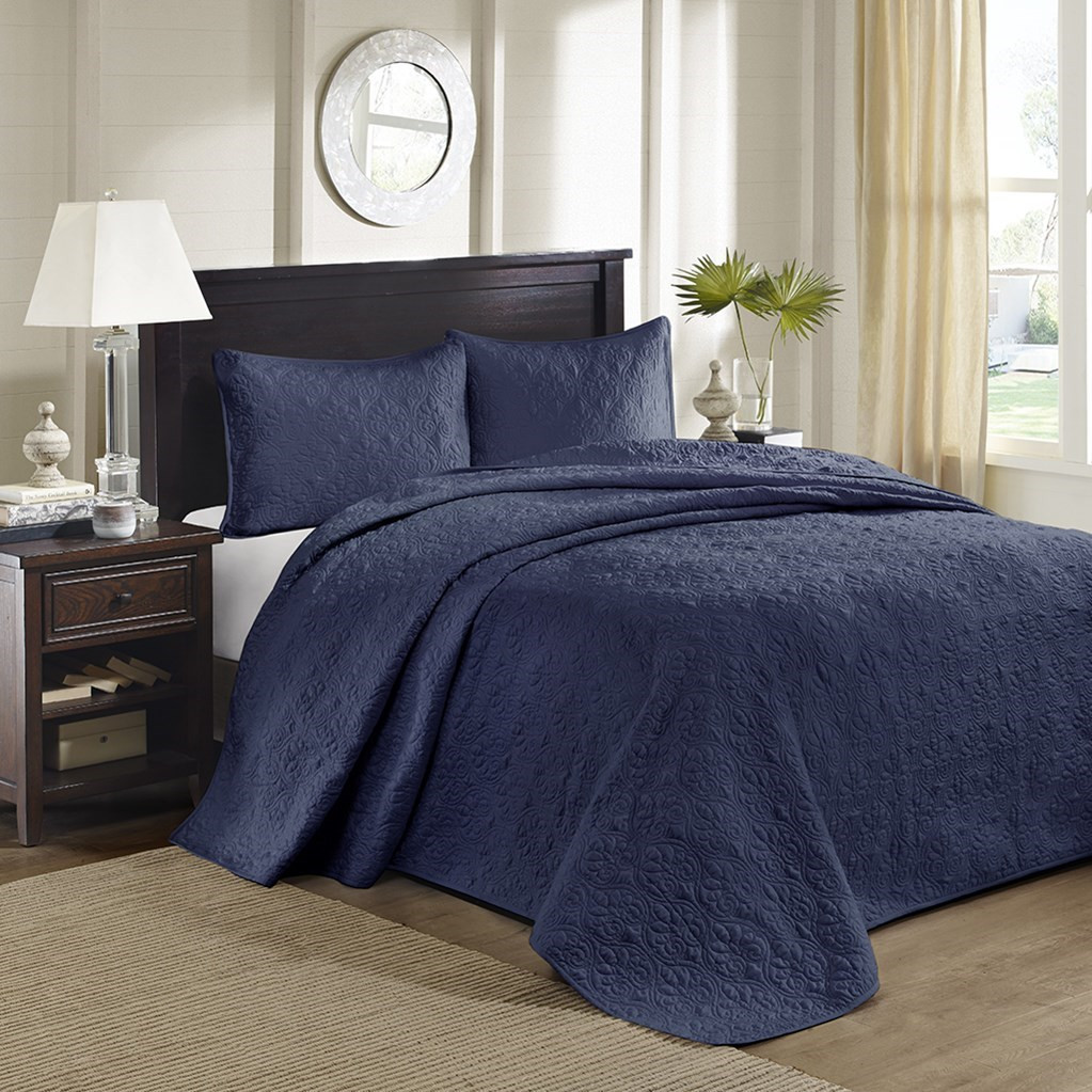 3pc Solid Navy Blue Quilted Bedspread Set AND Decorative Pillow Shams (Quebec-Navy-cov)