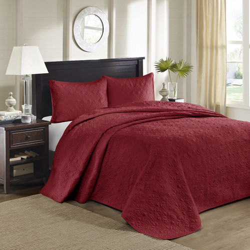3pc Solid Deep Red Quilted Bedspread Set AND Decorative Pillow Shams