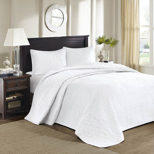 3pc Solid White Quilted Bedspread Set AND Decorative Pillow Shams (Quebec-White-cov)